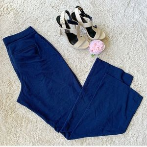 Navy blue high waisted boot cut work slacks